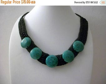 ON SALE Vintage 1960s Black Cotton Woven Turquoise Stones Shorter Length Necklace 51117