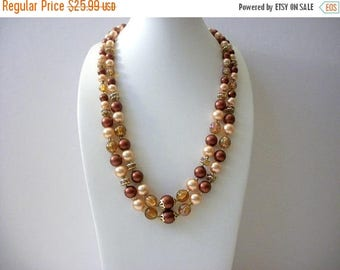 ON SALE Vintage HONGKONG Double Strand Faux Pearls Decorative Clasp Necklace 8916