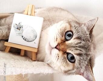 Mini Canvas Print Giclée with Easel - Handmade - Cat BKH British Short Hair, drawing artwork by Fleurdoodles Maike Geller