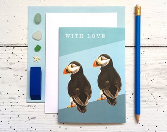 Puffin Card - Puffin With Love Card - Birthday Card - With Love Card - Animal Card - Bird Card - Puffin Greeting Card - Puffin