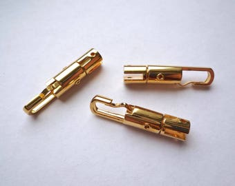 4 gold plated clips with a slot and holes for rivet attachment, Unusual clip fastener or thin strap connector