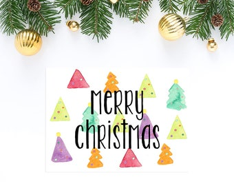 Merry Christmas Cards - Colorful Christmas Card - Christmas Tree Card - Holiday Card - Greeting Cards - Illustrated Blank Watercolor Card