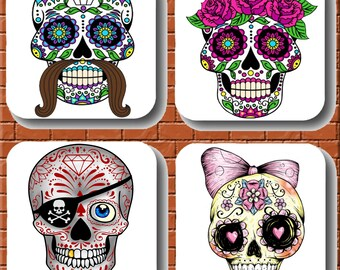 Candy skull coasters, day of the dead, gift,present