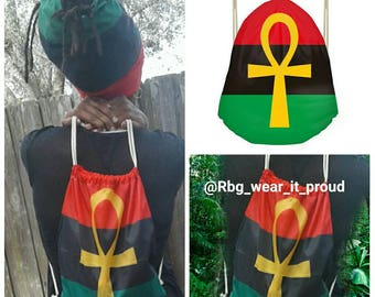 RBG Ankh Backpack Pan African Red Black and Green Black Pride Basketball Beach Bag