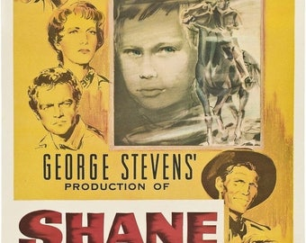 Back to School Sale: SHANE Movie Poster 1953 RARE Western
