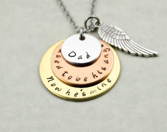 Dad Memorial - Engraved Sympathy Gift - Remembrance Hand Stamped Necklace Loss of Dad Loss of Father - I Used to be His Angel, Now He's Mine