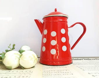 French Vintage Coffee pot red white with polka dots / enamelware / Cottage shabby chic / Farmhouse / Excellent condition/ New old stock