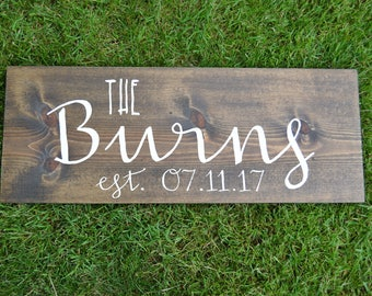 Family Established Sign - Last Name Established Sign - Family Established Wood Sign - Family Sign - Wedding Established Sign - wedding gift