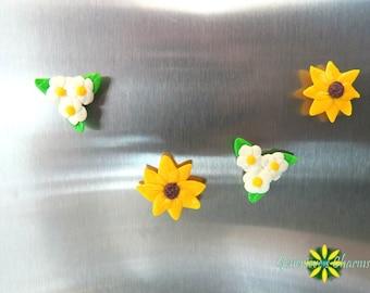 Polymer Clay Sunflower Flower And Dogwood Flower Handmade Magnets