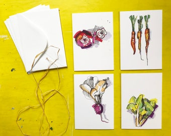 Vegetable note cards, set of 4