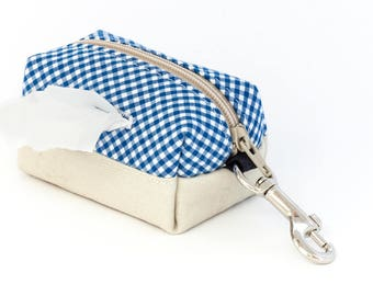 Dog poop bag holder // colorblock blue and white gingham & light beige - mini dopp kit zipper pouch - clip on - gifts for dog lovers