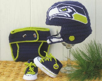 Baby FOOTBALL hat and shoes, Newborn Football hat, BABY shoes, Seattle Seahawks inspired (Handmade by me and not affiliated with the NFL)