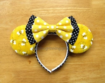 Minnie Mouse Ears- Bumble Bees and Polka Dots