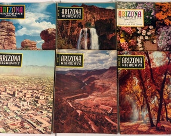 Vintage Arizona Highways Magazine Lot of 6 from 1956 to 1958 / Great Overall Condition!