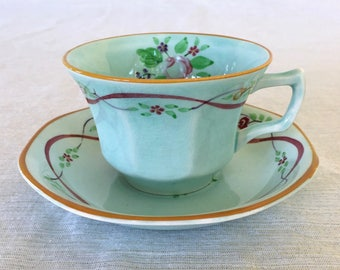 Adams China Co. of England, Calyx Ware, Ribbon Pattern, Hand-painted, Tea Cup with Saucer, Early 1900s, Old Mark