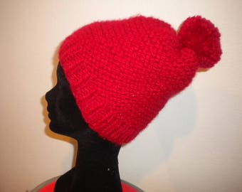 Pompom Hat hand knit in red
