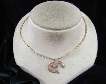 Vintage Signed Avon Goldtone Rabbit Necklace-Ears Move
