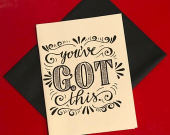 black and white hand lettered encouragement card