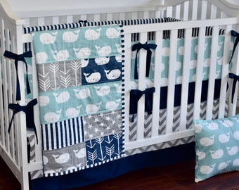 Whales Tales in Canal, Grey and Navy, modern nursery, modern quilt, nautical, whales, anchors, minky quilt, crib bedding, bedding set