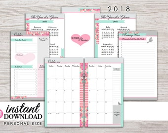 Planner Printable - 2018 Monthly Inserts - with Free Stickers - Filofax Personal - Kikki K Medium - 3.75 x 6.75 in. - Design: Flirty Girl