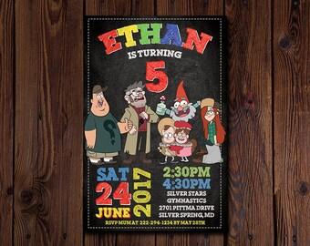 Gravity Falls Invitation, You Print Invitation, Gravity Falls Birthday, Gravity Falls Invite, Gravity Falls Themed Birthday Party Invite