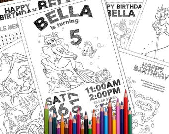 Ariel 6 Coloring Pages Little Mermaid Birthday Disney Princess Printable
