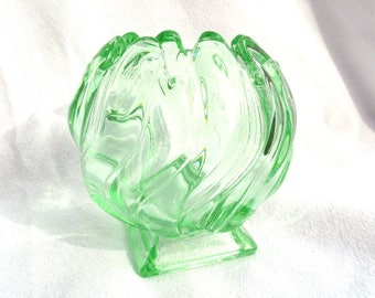 "Bagley Equinox Posy Vase, Green Glass Posy Vase, 1938 English Art Deco, 4"" x 4"", Immaculate Conditon, Marked, 2 In Stock!"