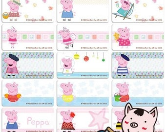 48 Peppa Pig Iron On Name Labels -  Medium (30*15 mm) Iron On Labels