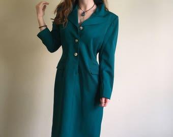 Vintage 1980s rare long sleeve teal suit dress