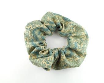 Scrunchie, scunchies 100 % cotton - beige and blue floral