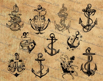 Digital SVG PNG anchor, nautical, ship anchor for boat, vintage anchor, sailing ship, pirate,  clipart, vector, silhouette, instant download