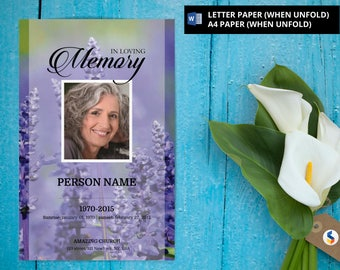 Funeral template etsy lavender purple funeral program template printable funeral program template microsoft word template pronofoot35fo Image collections
