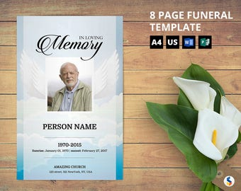 ANGEL WING | 8 Page Funeral Program Booklet Template, Obituary Program, Memorial Program Template, Microsoft Word Template