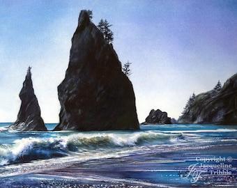 Print - Rialto Beach Watercolor Seascape painting - Olympic Peninsula, WA Beach, Washington coast, Pacific Coast, Tribble, PNW Watercolor