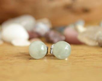 Green Stud Earrings - Jade Earrings - Gemstone Stud Earrings - Small Stud Earrings - Earrings For Sensitive Ears - Good Luck Gifts Women