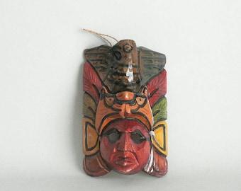 Tribal Ethnic Figure Bird Carved Wood Wall Mask