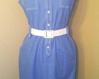 Vintage Sky Blue Collared Linen Tank Dress with White Belt