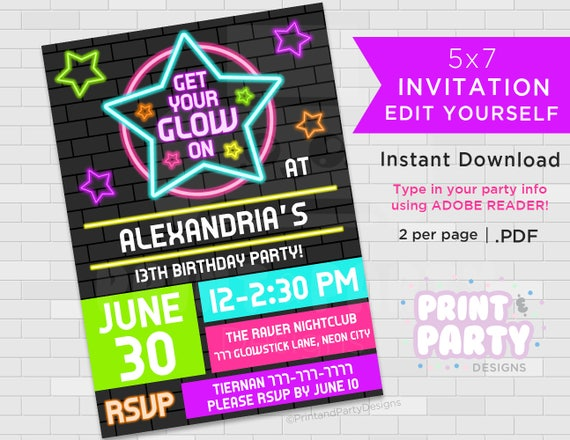 Printable Blacklight Neon Birthday Party Invitations Teen Glow