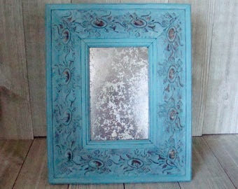 Teal Picture Frame, 4 X 6 Frame, UpCycled Picture Frame, Ornate Picture Frame, Boho Frame, Wedding Frame, Nursery Frame
