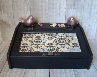 Black Valet Box, Vintage Valet Box, Ladies Jewelry Box, Men's Jewelry Box, Unique Jewelry Box Up Cycled Valet Box