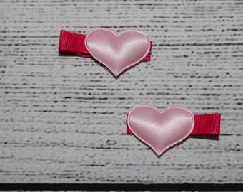 Heart hair clips set of 2