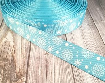 """Christmas ribbon - Snow ribbon - Snow flakes - 7/8"""" Grosgrain ribbon - Holiday ribbon - Season ribbon - Winter ribbon - Snow flakes - Craft"""