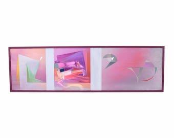 1980's Geometric Abstract Oil Painting Dina Herrmann New York Artist