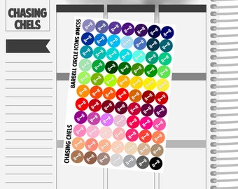 Barbell Circle Icons #MCS5 Premium Matte Planner Stickers