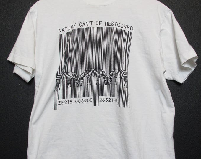 Novelty Zebra Nature Can't be Restocked 1990's vintage Tshirt