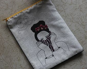 Zip Pouch- Screen printed, hand embroidered