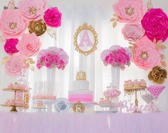 12 pc Paper Flowers, backdrop, candy buffet, decor, Customize your colors!