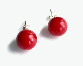 Large Red Coral Earrings, Sterling Silver Red Coral Post Earrings, Red Coral Studs, Coral Earrings, Red Earrings
