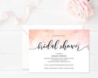 Printable Bridal Shower Invitation • Watercolor Invitation • Wedding Shower Invitation • Printable Bridal Shower Invite • Modern Calligraphy