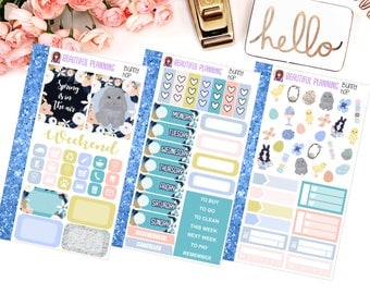 Bunny Hop Personal Size Tn Size Weekly Kit - Planner Stickers, Filofax, Kikki K, Websters Pages, Fashion, Glitter.